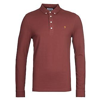 Farah Ricky Burgundy Slim Fit Long Sleeve Polo Shirt