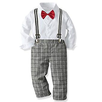 Spring & Autumn Long Sleeve Striped Bowtie Shirt / Suspender Trousers, Baby