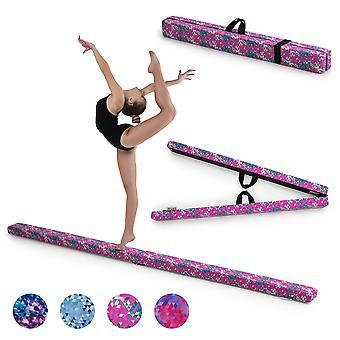 Rosa Smaragd geometrisk gymnastik Fällbar balans Beam 2.1M Faux Mocka Gym Träningsutrustning