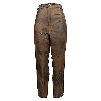 Curations Women's Plus Pants Coated Faux Suede Slim Leg Brown 619-374