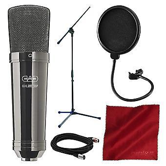 Cad gxl2200bp kardioid kondensatormikrofon (svart pärla krom finish) med samson mikrofon bom stativ och deluxe mic bunt
