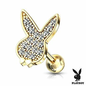 Micro cz paved playboy bunny barbell studs for ear cartilage, tragus and more 16