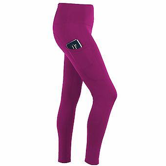 Flo Women's Tummy Control Sports Yoga Pants with Inner Pockets Pink,Large