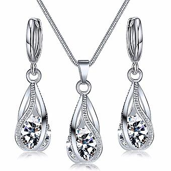Crystal Jewelry Set Zircon Necklace Earrings Set Decoration