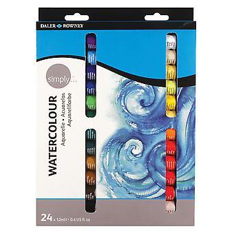 Daler rowney 12ml helt enkelt akvarell färg set (förpackning med 24 färger)