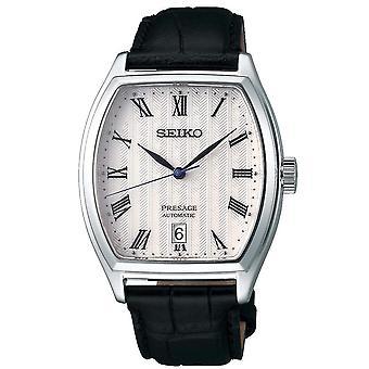 Seiko SRPD05J1 Presage White Dial, Silver & Black Leather Automatic Men's Watch
