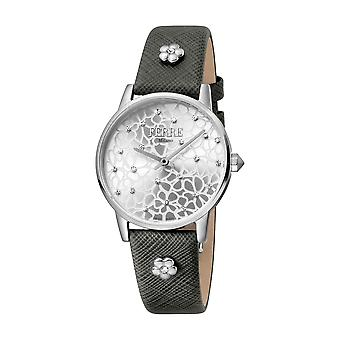 Ferre Milano Ladies Silver Dial Grey Leather Strap Watch