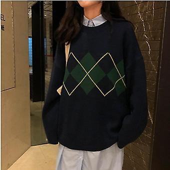 Autumn/winter Geometric Pattern Argyle Pullovers Loose Oversized O-neck Knitted