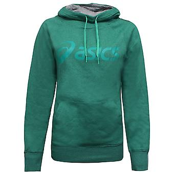Asics Dame Logo Strikke Hettegenser Trening Spor Topp Sweatshirt Grønn 113976 5010