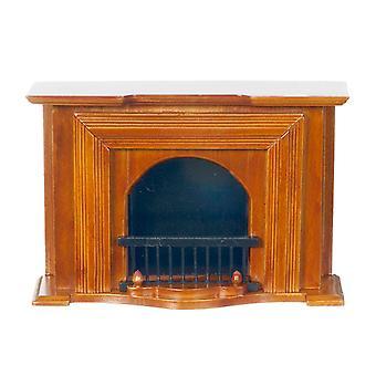 Dolls House Orzech drewniany gruziński kominek Miniaturowy salon Meble