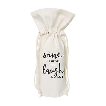 Wine A Little Laugh A Lot-cotton Canvas Wine Bag