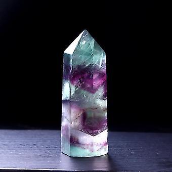 1pc Natural Fluorite Hexagonal Column Crystal Point Healing Wand Mineral