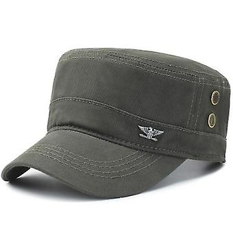Men Military Baseball Hats Flat Top Army Black Hats Cap