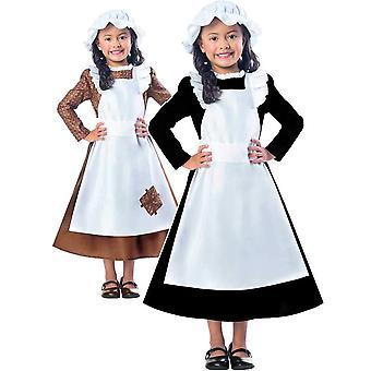 (Pll) (9904321) ragazza vittoriana abito fantasia povera cameriera libro giorno settimana bambini costume bambino (11-