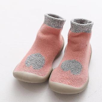 Autumn Winter Rubber Sole Baby Foot Socks, Cute Cartoon Shoes