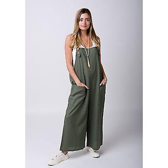 Saffy ladies lightweight loose fit linen dungarees - green