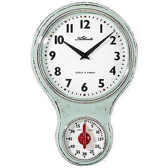 Atlanta 6124/6 cocina reloj pared reloj cocina cuarzo analógico verde corto pieza temporizador