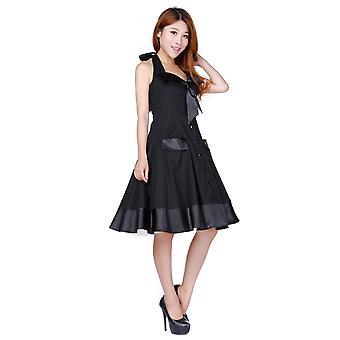 Chic Star Fold Collar Halter Dress In Black