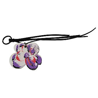 Costume National White Leather Butterfly Logo chavering C'N'C Keychain