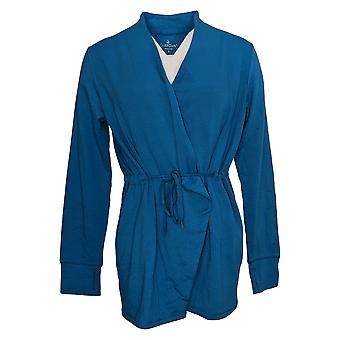 Cuddl Duds Women's Sweater Comfortwear Cascade Front Wrap Blue A381692