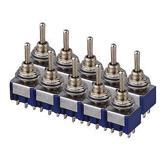 10PCS Azul 3-Way AC 125V 6A Double Pole DPDT On/Off/On Type 3P Alternar interruptor