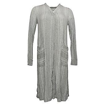 Cuddl Duds Women's Sweater Softwear Open Front Cardi Pockets Gray A391552