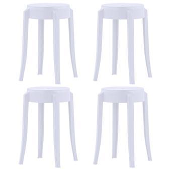 vidaXL Stackable stool 4 pcs. white plastic