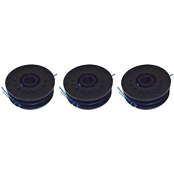 3 x Spool & linje For Qualcast GGT4502 & GGT600A1 Strimmers 5 meter