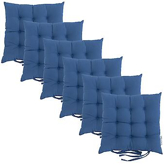 Blue 6pk Square Seat Pad Dining Room Garden Patio Tufted Padded Chair Cushion with Ties