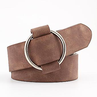 Double Ring Pu Leather Metal Buckle Heart Pin Waist Belts Fashion