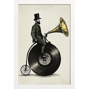JUNIQE Print -  Music Man - Musik Poster in Cremeweiß & Schwarz