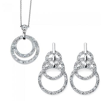 Explosion Set Rhodium Necklace And Earring