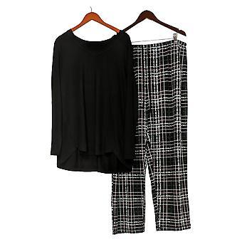 Carole Hochman Women's Plus Dottie Plaid Marshmallow Jersey Black A368287