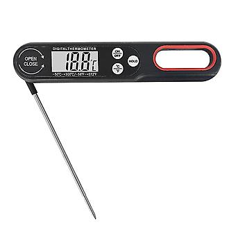 Digital Food Thermometer Foldable Instant Read Bbq Meat Thermometer With Backlight(Black)