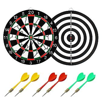 17in Double Side Dartboard Professional Dart Board Game Set With 6 Plastic Darts For