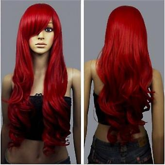 Wig Cosplay Red Color Long Waving Curly Hairpiece 70cm Long Curls