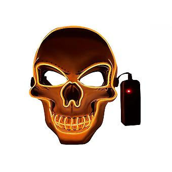 Qian Halloween Mask Led Light Up Scary Skull Mask Pour Hommes Femmes Costume Carnaval Cosplay