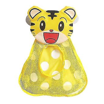 Utility hooks baby bath toys storage organiser mesh net with strong suction cups mesh tiger