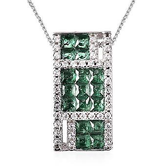 Lustro Stella Green Cubic Zirconia Cluster Necklace for Women Silver 18'' 1.16ct