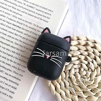 Schattige cartoon 3d siliconen oortelefoon hoesjes voor airpods 1 2 (Black Bearded Cat)