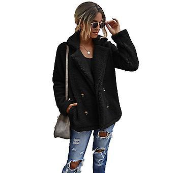 Women's Long Sleeve Lapel Up Faux Shearling Shaggy Coat Jacket