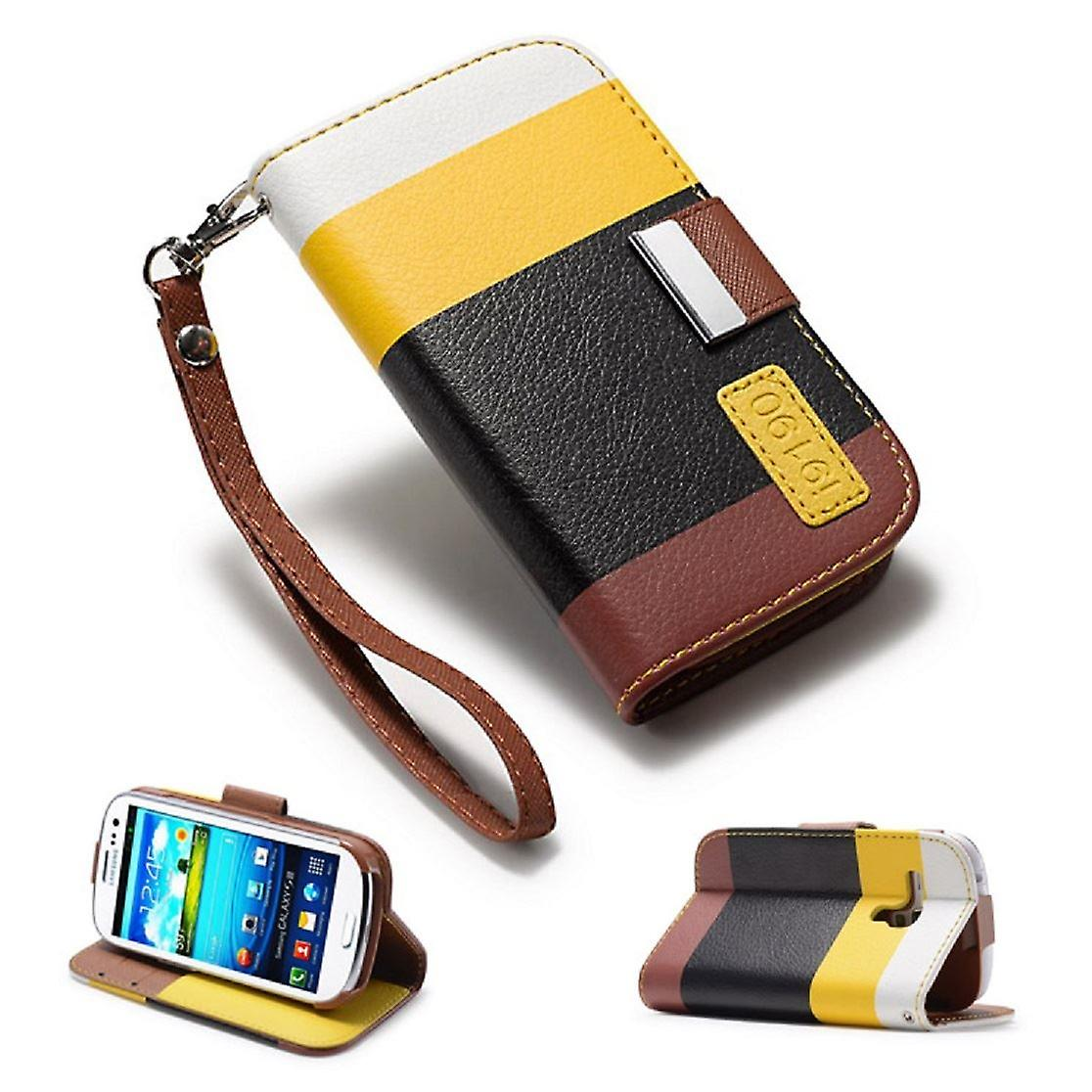 Multiple Stripe wallet case + stylus for Samsung Galaxy S4 Mini (GT-i9190) - Yellow