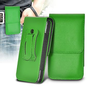 Huawei Honor 4X Vertical Faux Leather Belt Holster Pouch Cover Case (Green)