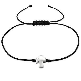 Cruz - cabo de Nylon + prata 925 esterlina com fio pulseiras - W30282x