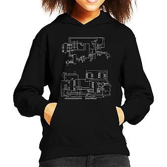 TRS 80 Computer Schematic Kid's Hooded Sweatshirt