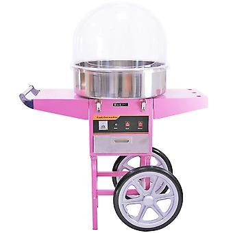 Candy Floss Machine Cotton Candy Maker Electric + Pink Cart & Acrylic Dome