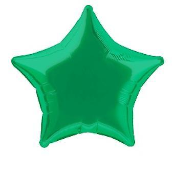 Фольга шар звезда сплошной зеленый металлик