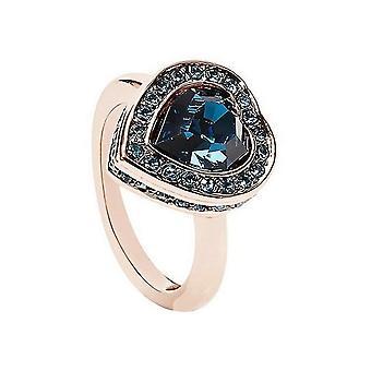 Μαντέψτε γυναικών δαχτυλίδι από ανοξείδωτο ατσάλι Rose κρύσταλλο μπλε UBR28510
