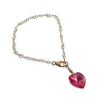 Gemshine Heart Bracelet Gold plated Pink MADE WITH SWAROVSKI ELEMENTS®