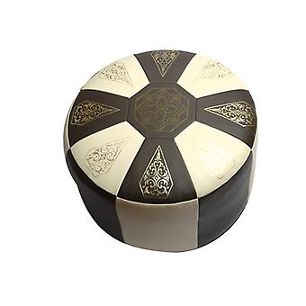 Seat cushion Pouffe Oriental pillow around faux leather dark brown/beige, width 50 cm, height 34 cm